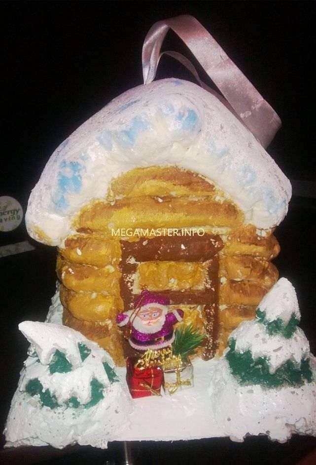 Готовый Новогодний домик из монтажной пены