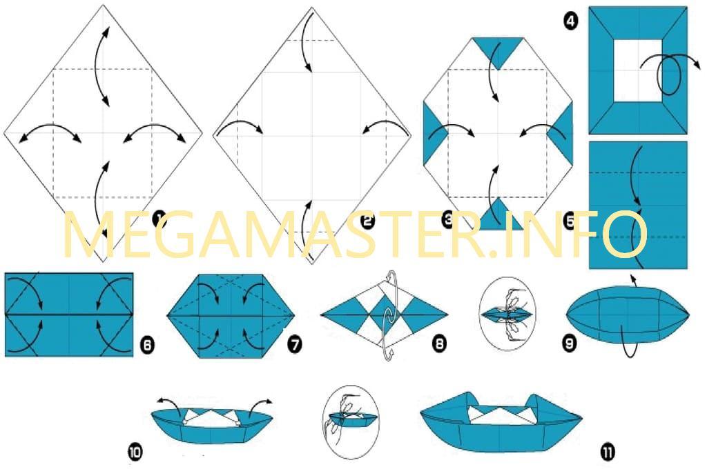 Лодка из бумаги. Схема