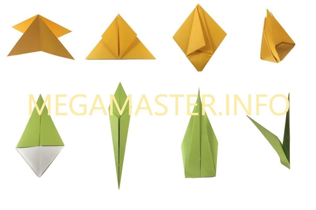 Тюльпан оригами. Схема