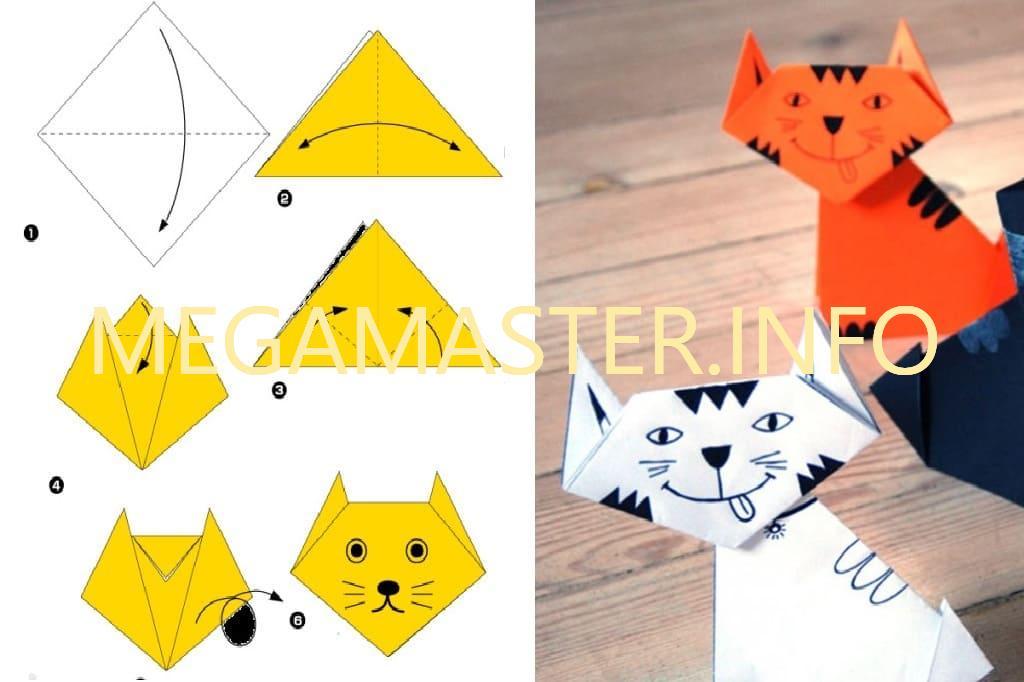 Быстрый вариант кошки оригами