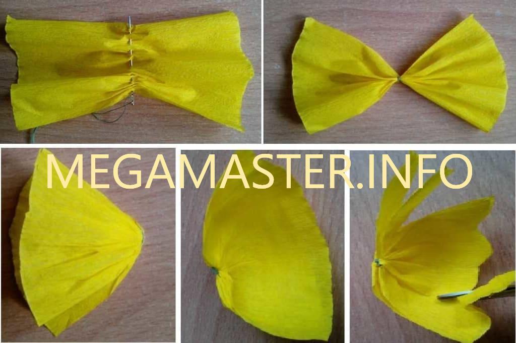 Изготовление бабочки с использованием гофрированной бумаги (Шаг 1)