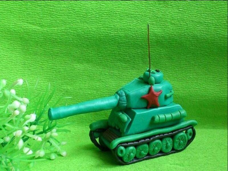 Как сделать танк из пластилина