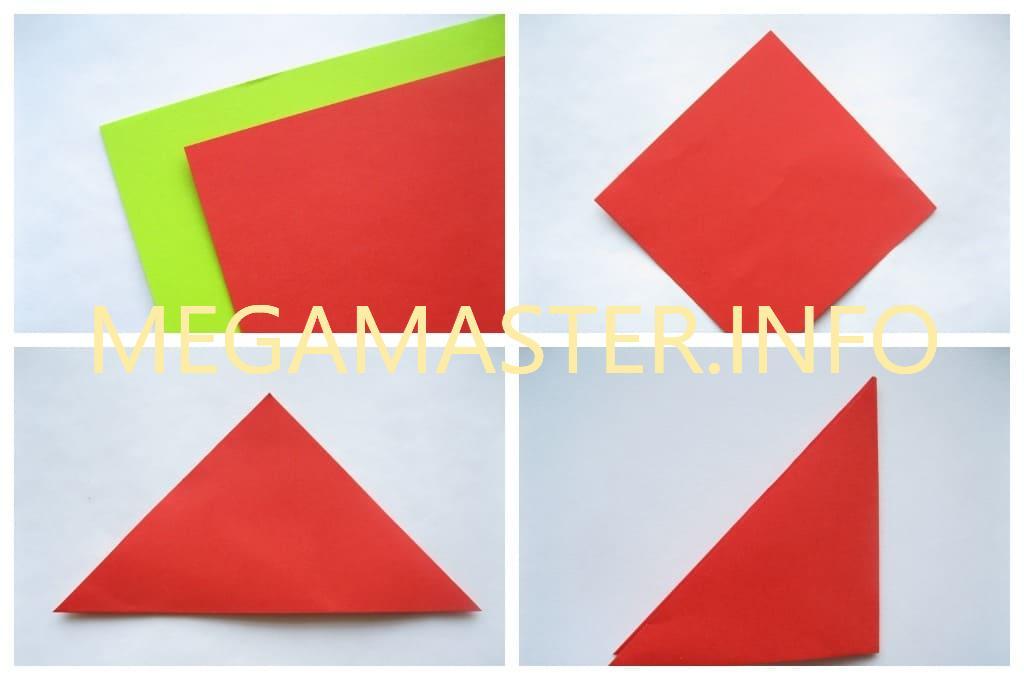 Оригами тюльпан (Шаг 1)