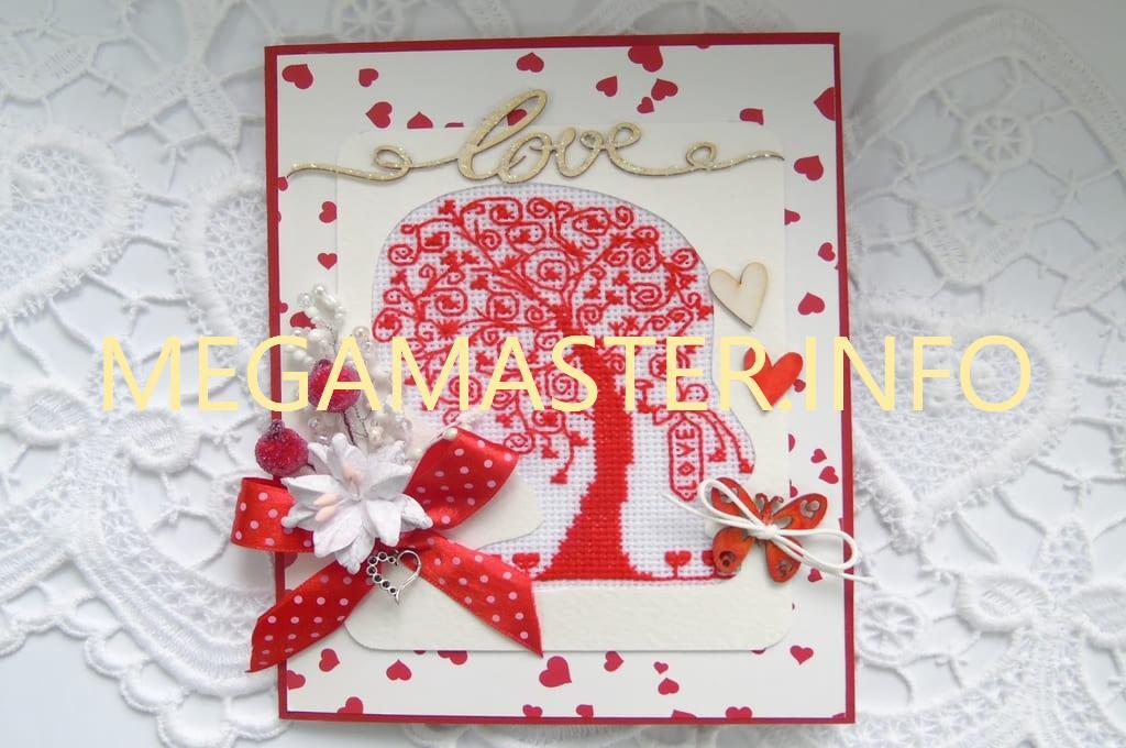 Пример открытки с вышивкой