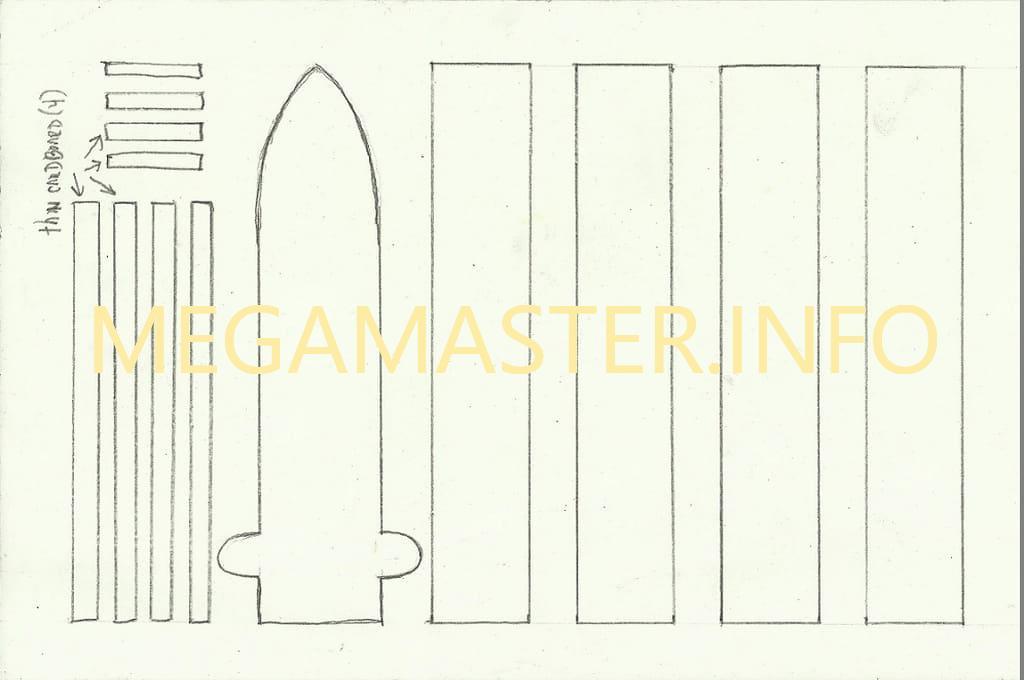 Шаблон ножа-бабочки из бумаги