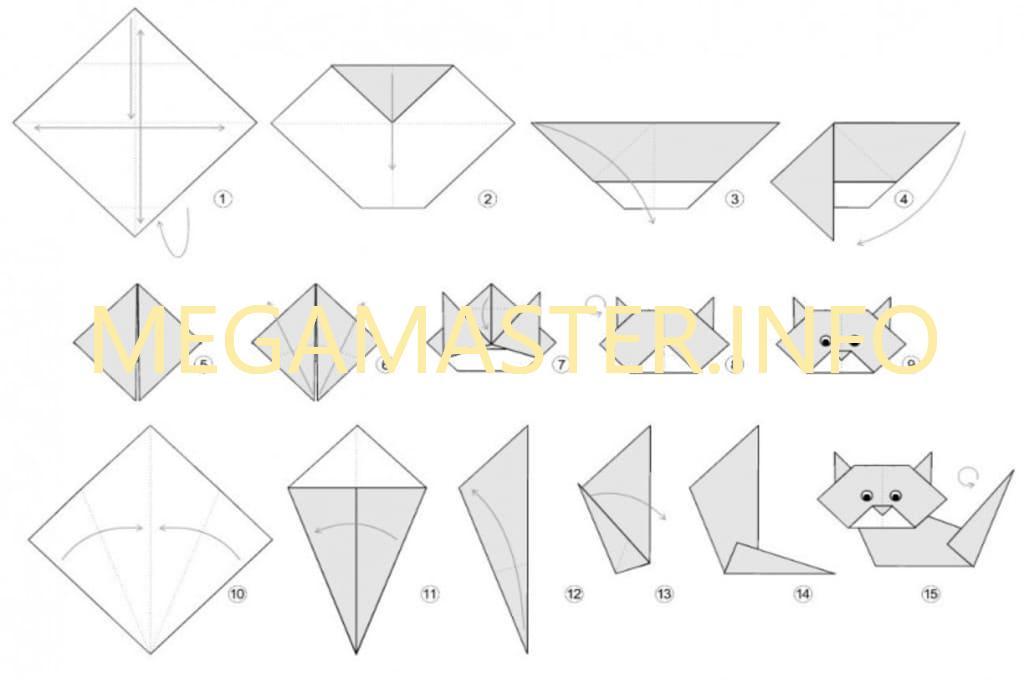 Схема изготовления простого кота оригами