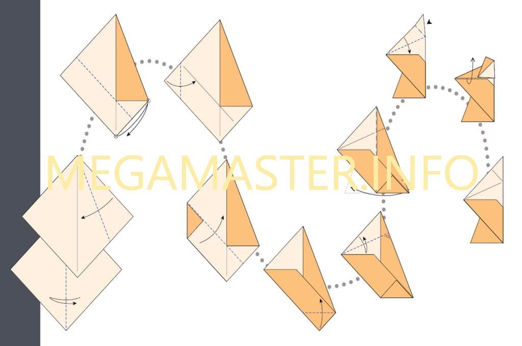 Схема изготовления сюрикена из скрапбумаги (Шаг 1)