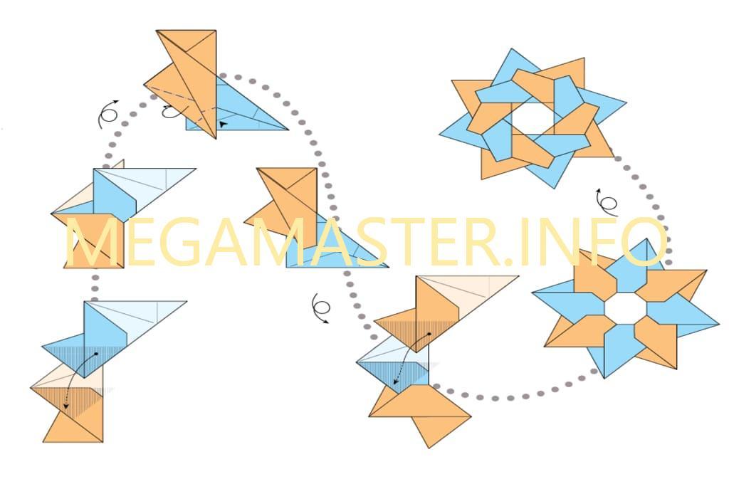Схема изготовления сюрикена из скрапбумаги (Шаг 2)
