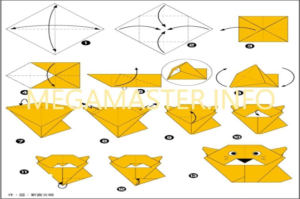Схема кошечки оригами