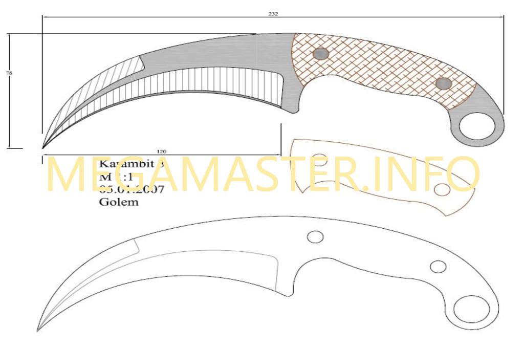 Шаблон ножа керамбита из бумаги