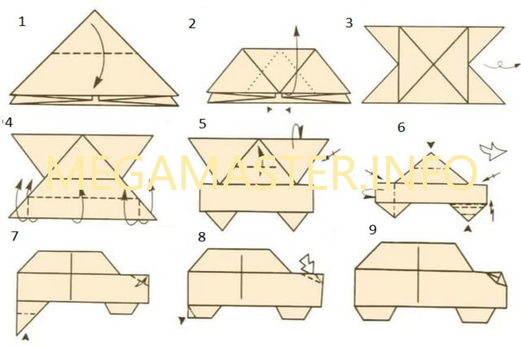 Схема оригами машинки