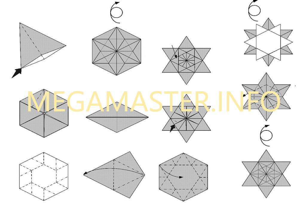 Схема снежинки оригами