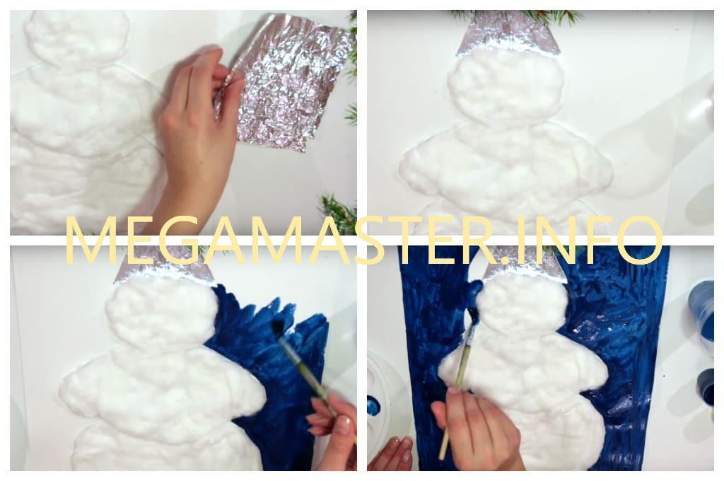 Аппликация снеговик (Шаг 3)