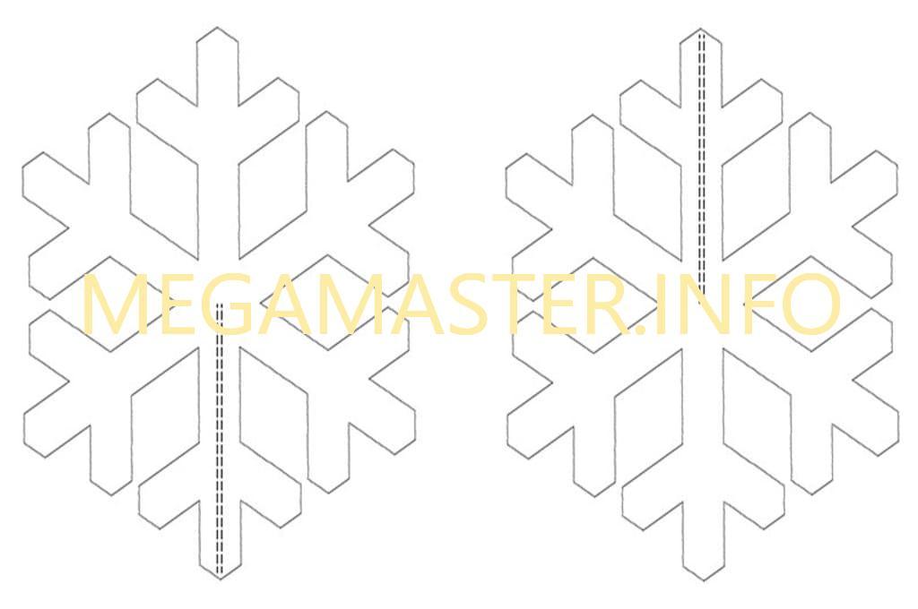 Шаблон простой объемной снежинки