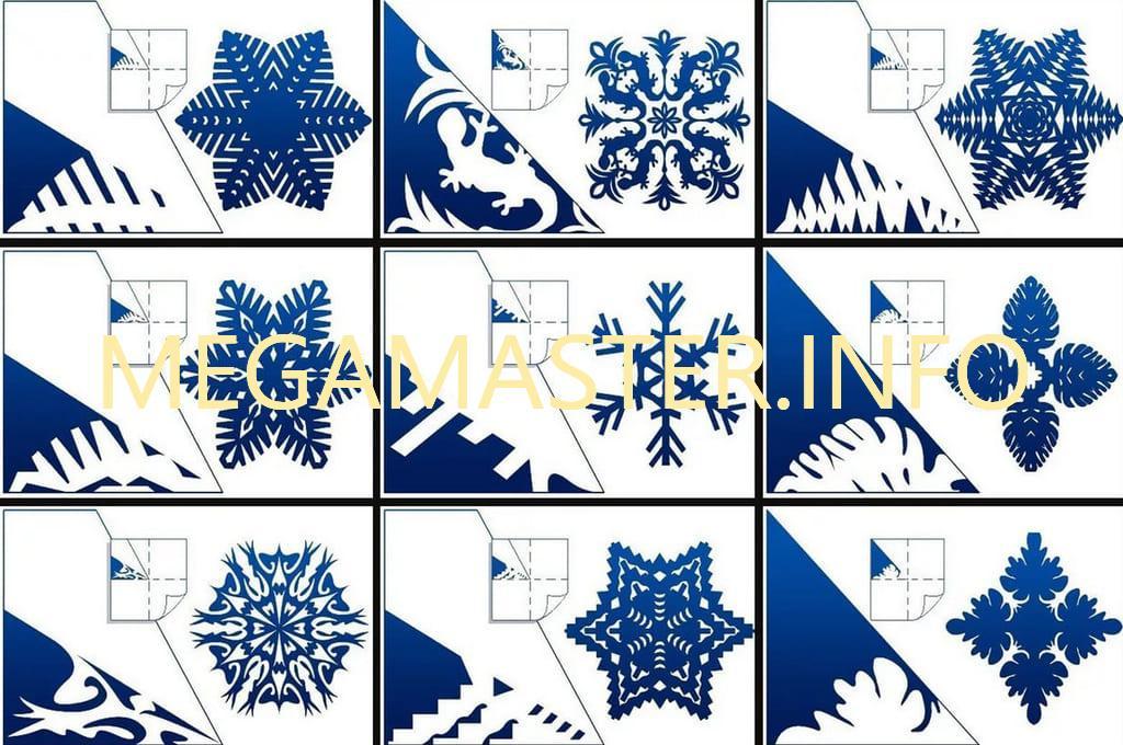 Варианты шаблонов для снежинок