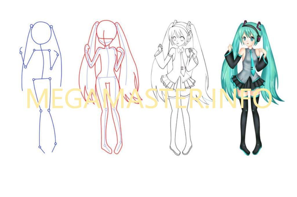 Быстрый рисунок аниме девушки