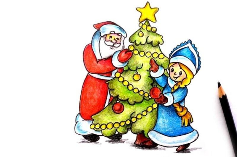 Как нарисовать Деда Мороза и Снегурочку