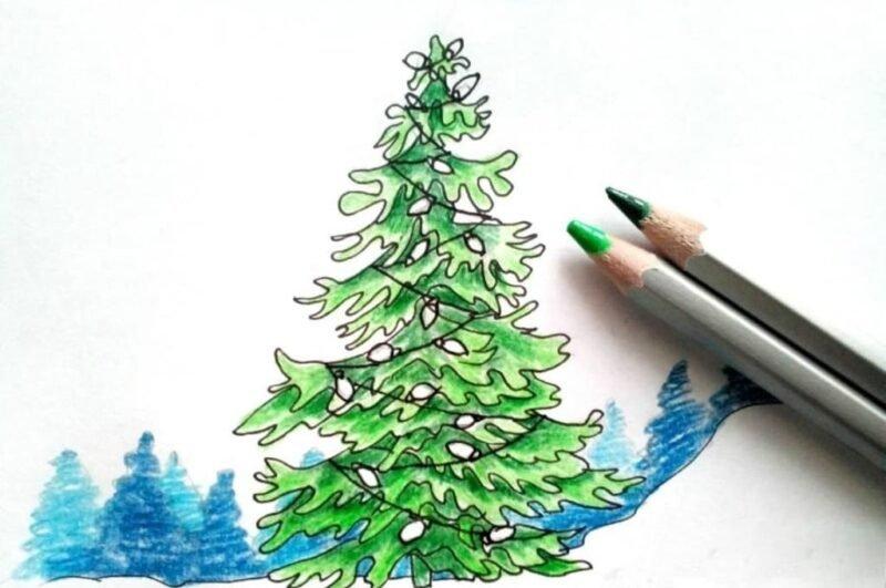 Как нарисовать елку поэтапно карандашом