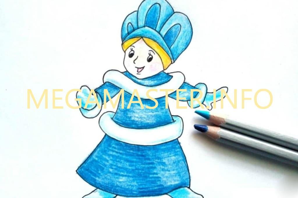 Детские рисунки снегурочки для срисовки