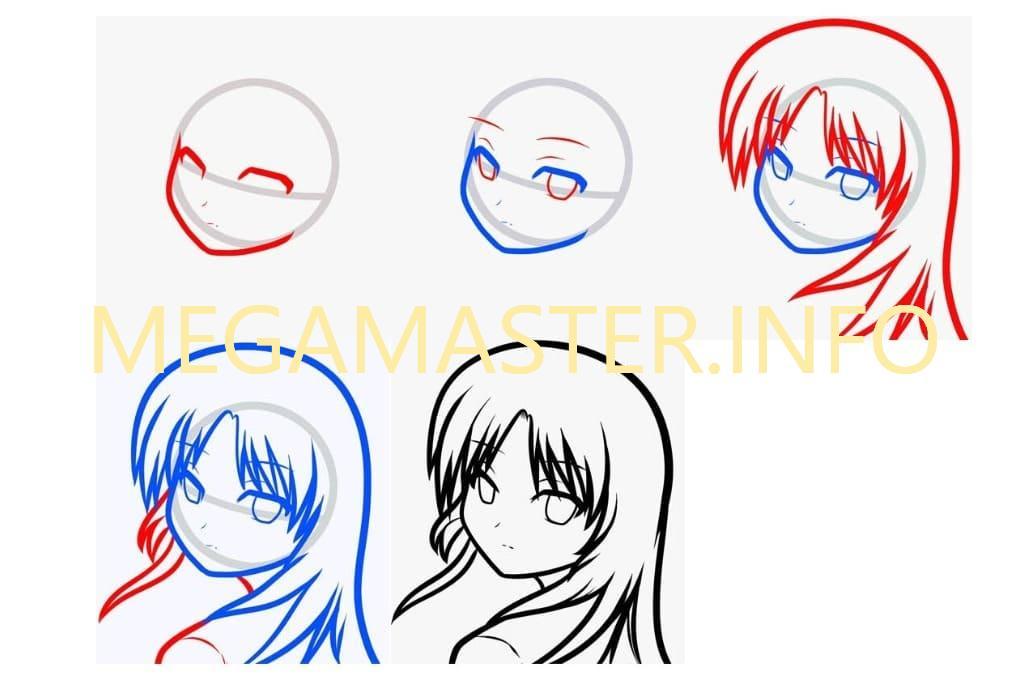 Как просто нарисовать лицо девушки аниме