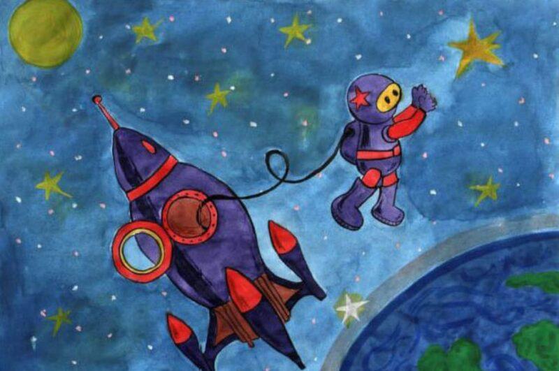 Как сделать рисунки ко дню космонавтики