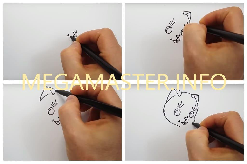 Кошка поэтапно для маленьких художников (Шаг 1)