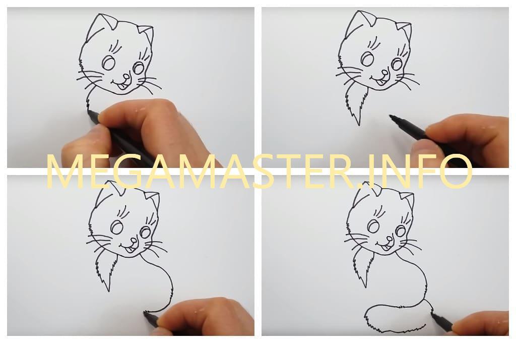 Кошка поэтапно для маленьких художников (Шаг 2)