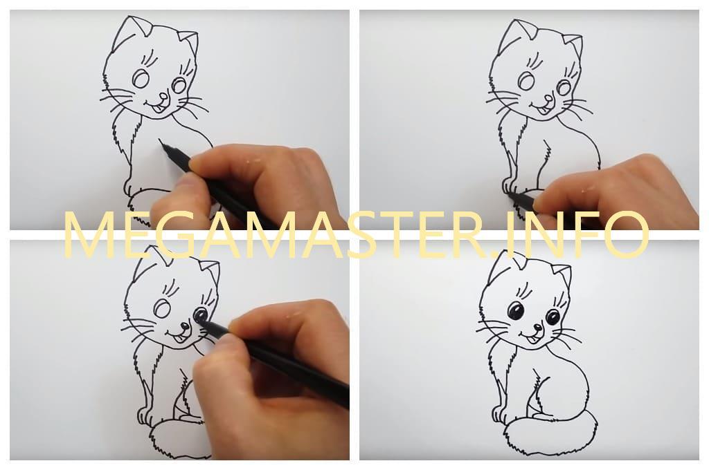 Кошка поэтапно для маленьких художников (Шаг 3)