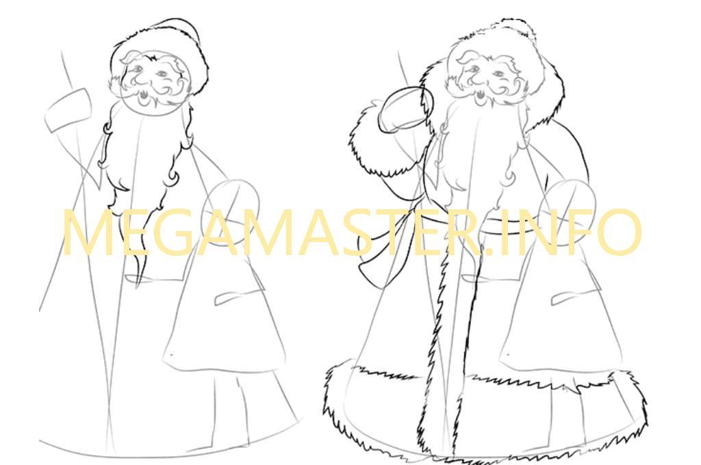 Картинки, картинки деда мороза и снегурочки для детей для срисовки
