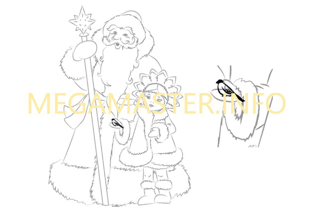 Как нарисовать на открытку деда мороза