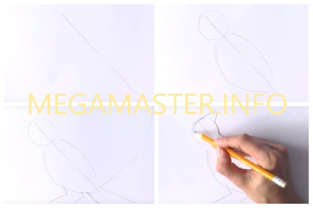 Птичка простым карандашом (Шаг 1)