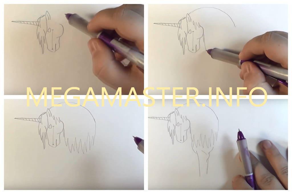 Рисование единорога карандашом (Шаг 2)
