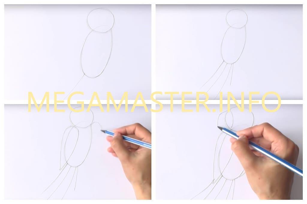 Рисуем попугая фломастерами (Шаг 1)