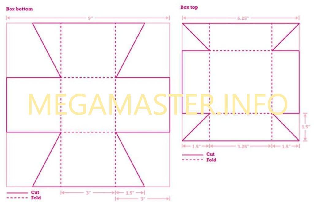 Схема второй коробки со съёмной крышкой