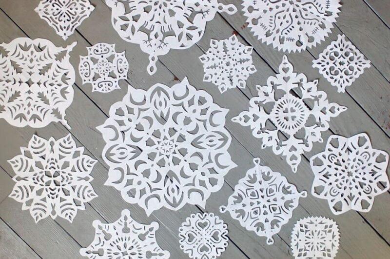 Трафареты снежинок для вырезания из бумаги распечатать