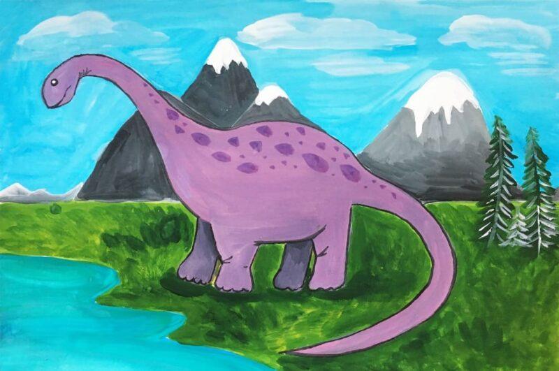 Как нарисовать динозавра поэтапно карандашом для детей