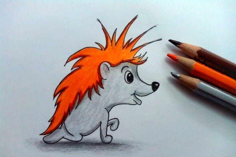 Как нарисовать ёжика карандашом поэтапно для детей
