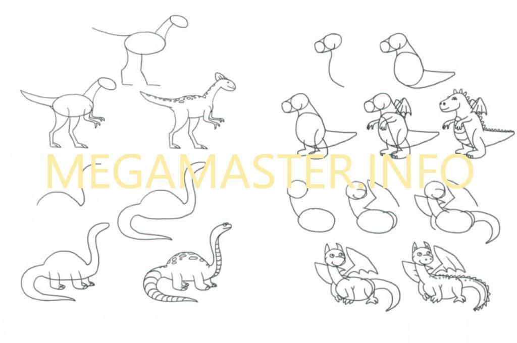 картинки динозавров поэтапно карандашом для по-настоящему