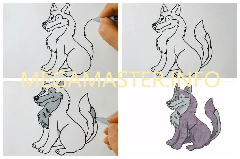 Нарисовать рисунок волка карандашом в детский сад