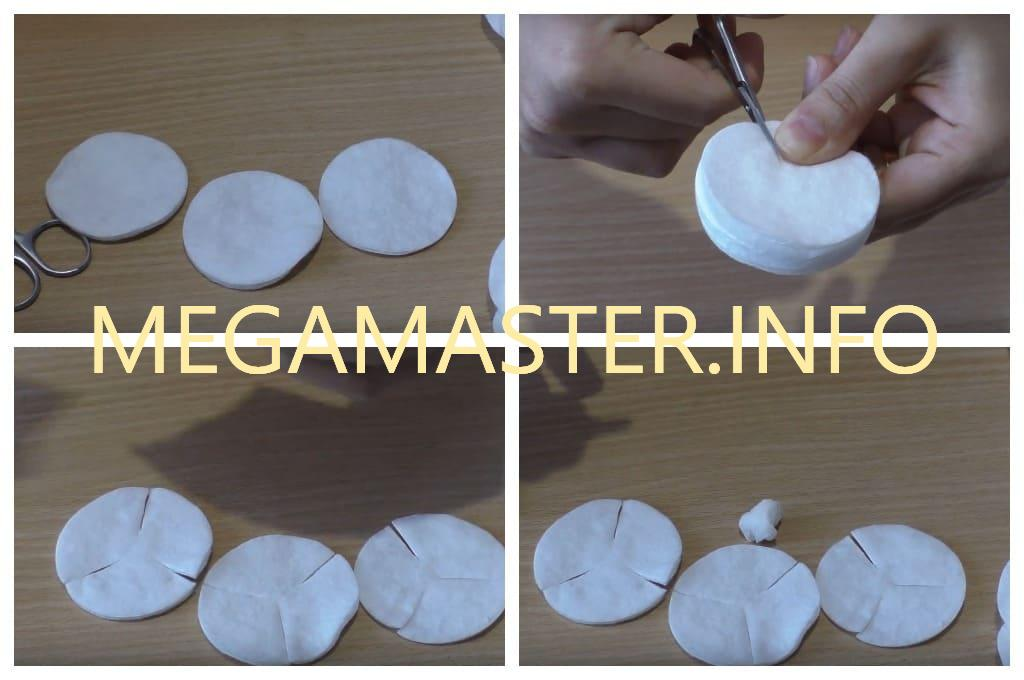 Роза из ватных дисков (Шаг 1)