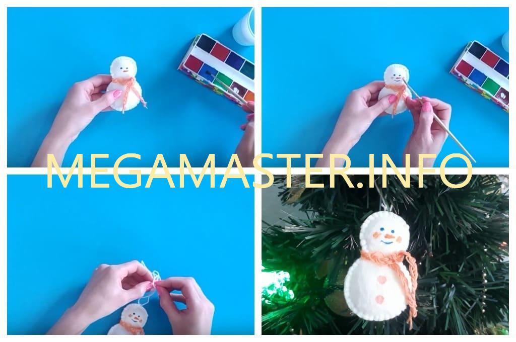 Снеговик из ватных дисков (Шаг 3)