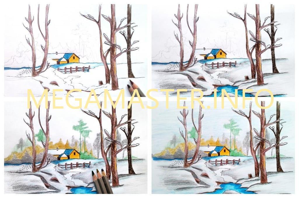 Деревенский зимний пейзаж (Шаг 3)
