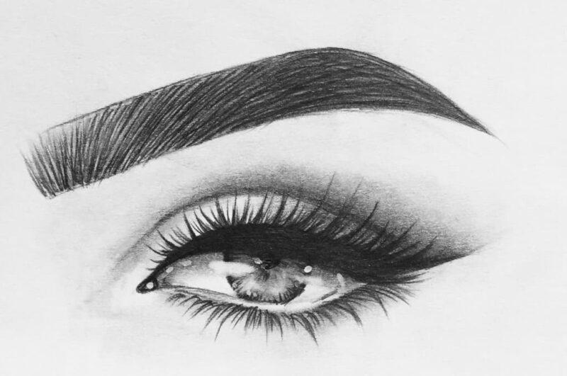 Как нарисовать брови карандашом на бумаге поэтапно