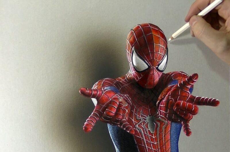 Как нарисовать Человека-Паука легко по клеточкам поэтапно