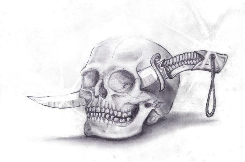 Как нарисовать череп карандашом поэтапно для начинающих