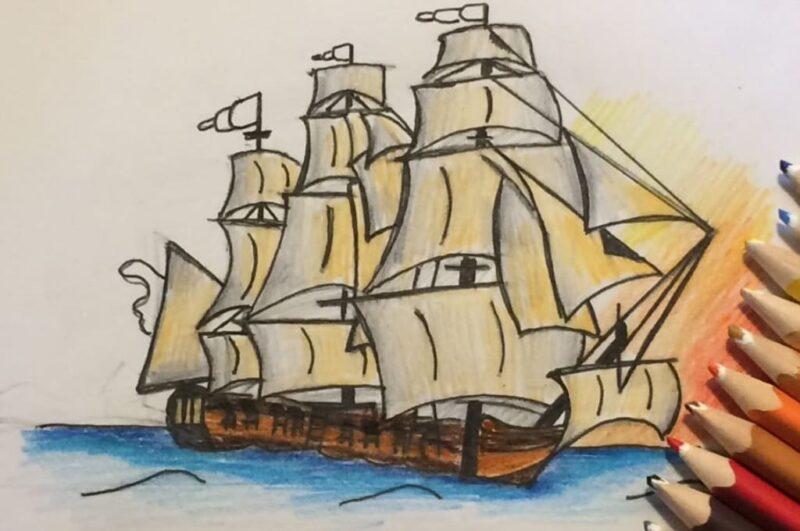 Как нарисовать корабль карандашом поэтапно просто и красиво