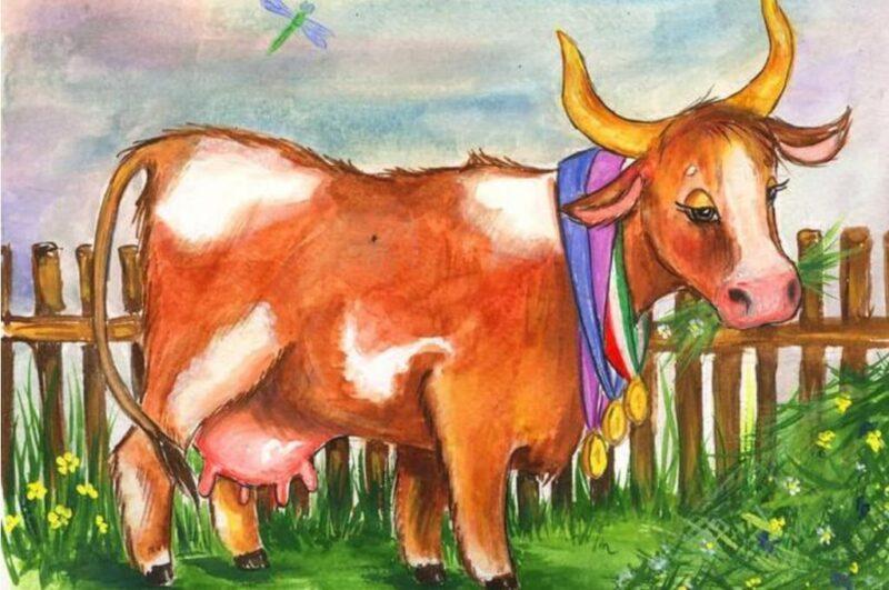 Как нарисовать корову карандашом поэтапно для детей