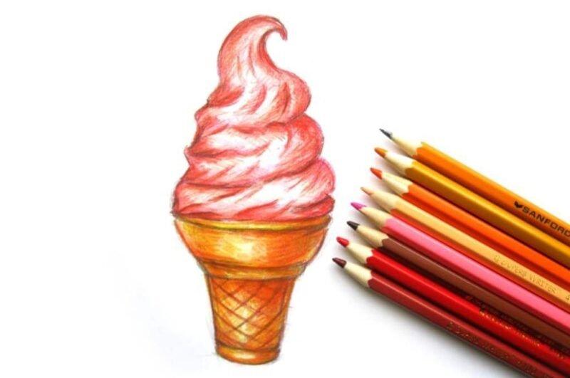 Как нарисовать мороженое карандашом легко поэтапно для начинающих