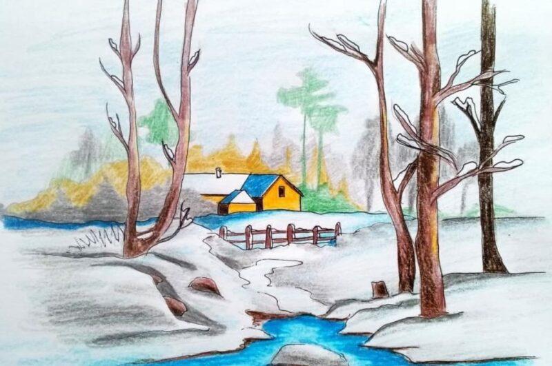 Как нарисовать зимний пейзаж красиво для начинающих