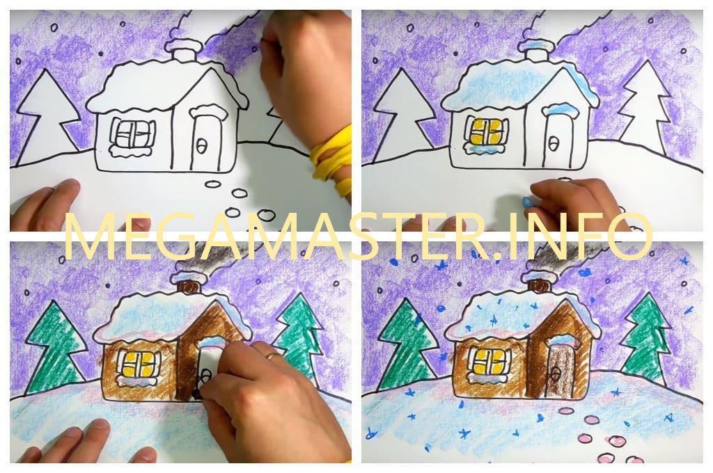 Зимняя картина лёгким способом (Шаг 3)